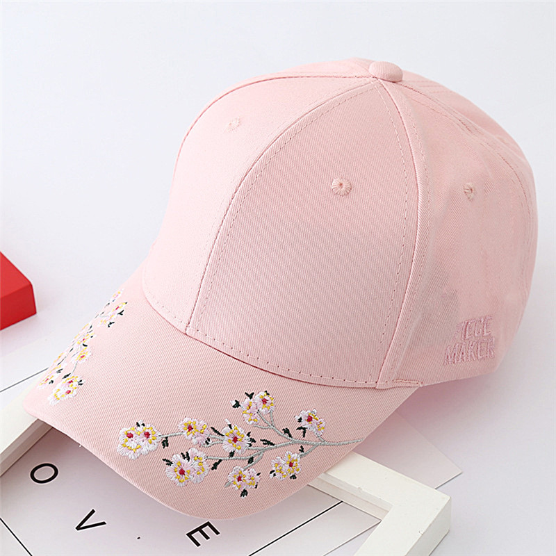Baseball Cap Ladies Snapback Cap Hat Women Embroidered Cherry blossoms Hat Hot(China)