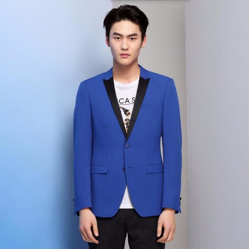 7.1Blue men suits jacket black peaked lapel men\'s wedding tuxedos jacket high quality bridegroom best man suits jacket