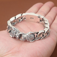 S925 Sterling Silver Jewelry Men Fashion New Silver Jewelry Thai Silver Double Leopard Head Ring Bracelet&Bracelet Homme