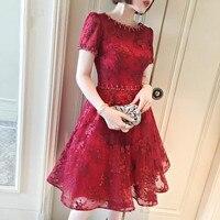В наличии высокое качество красный короткий рукав овальным вырезом Вечерние Платье с вышивкой на шнуровке паскоа плюс Размеры цельный коле