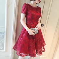 In Stock High Quality Red Short Sleeve Scoop Neck Party Dress With Embroidery Lace Up Pascoa Plus Size One piece Knee Dress0504A