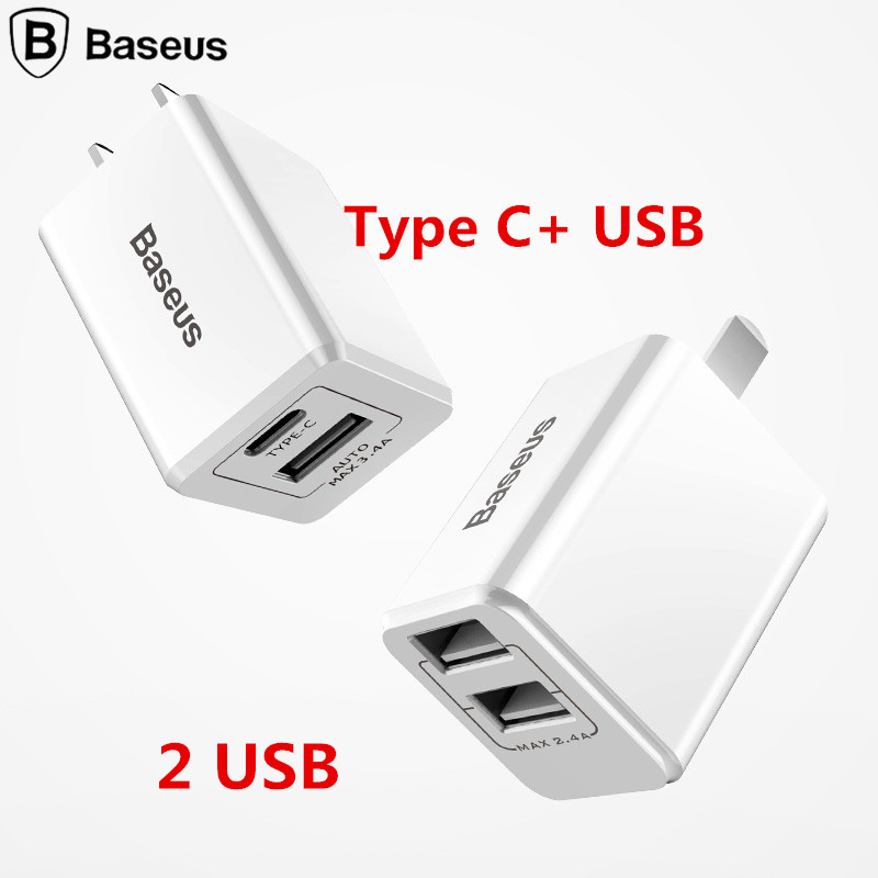 Baseus DualUSB Charger 5V 2.4A/1A Universal Portable Travel Wall Charger Adapter US Plug Mobile Phone Charger for iPhone Samsung