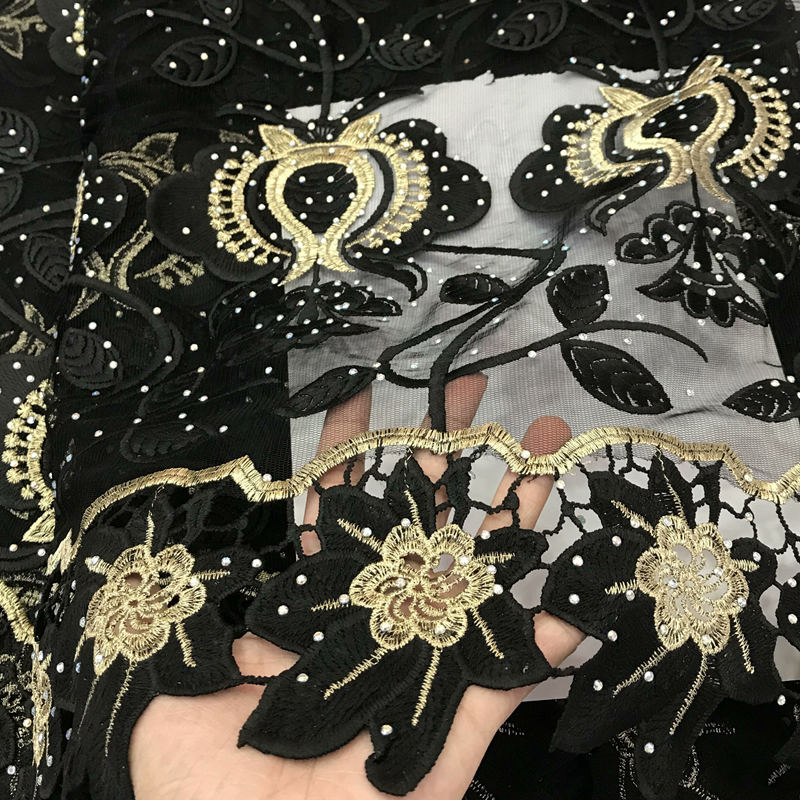 Folasade Black Gold African Lace Fabric 2019 French Net Lace New Designs Fabric High Quality African