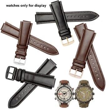 0547501c4f8e Calidad de cuero genuino de wdistband 24 16mm negro marrón pulsera  reemplazo correa para reloj Timex T2N739 T2N721 720