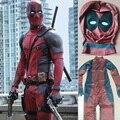 Purim carnaval Navidad Hijos Adultos Deadpool Traje con Máscara de Superhéroe Cosplay Traje de Halloween para Los Hombres Trajes de Cuerpo Completo