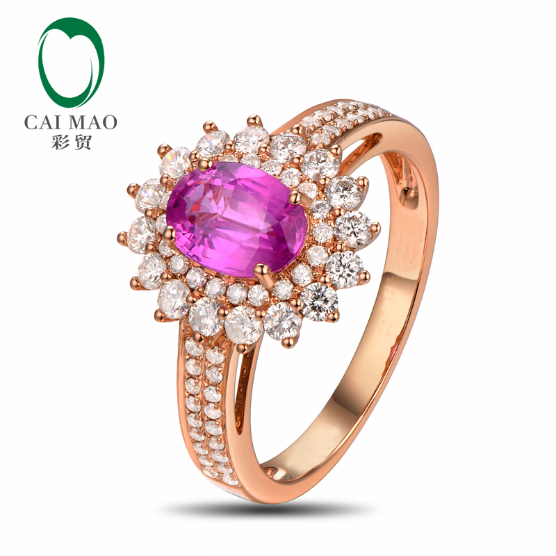 CaiMao 14KT/585 Rose Gold 1.22ct Natural Pink Sapphire 0.67ct Round Cut Diamond Engagement Gemstone Ring Jewelry caimao jewelry 14kt rose gold 2 31ct pink topaz and 0 24ct natural diamond engagement ring