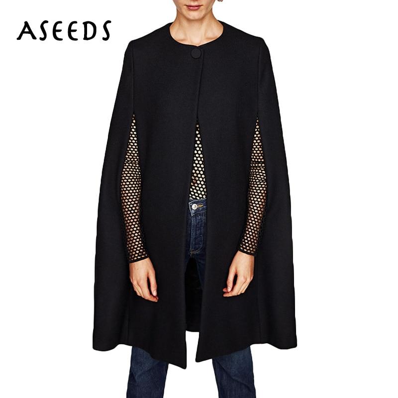 2017 design Cloak Trench Coat women long sleeve Poncho black Trench Coat Autumn winter Elegant single button Cape Outwears