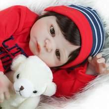 55cm bonecas reborn bebê silicone, completa, vinil, brinquedos, presentes, bonito, plamates para meninas e meninos, presentes