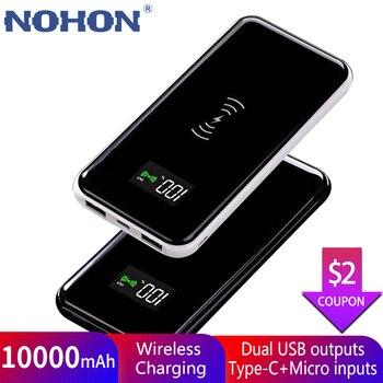 NOHON Wireless Power Bank 10000mAh For iPhone Huawei Xiaomi Powerbank 10000 mAh External Battery Portable Charger Universal