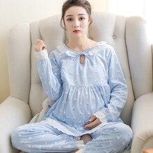 Пижамы для беременных женщин; хлопковая одежда для месяцев; Модная одежда для кормления грудью; пижамы с длинными рукавами для беременных; домашняя одежда