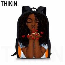 THIKIN African Schoolbag Backpack for Children Art Black Girls Printed Teenager Boys School Bag Students Cute Book
