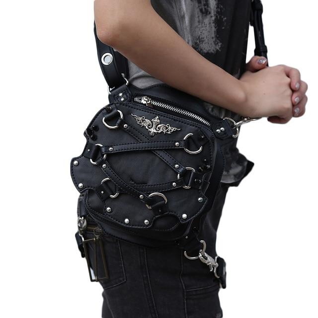 Top Quality Pu Leather Rivets Uni Motorcycle Crossbody Shoulder Studded Hip Bag Punk Goth Belt