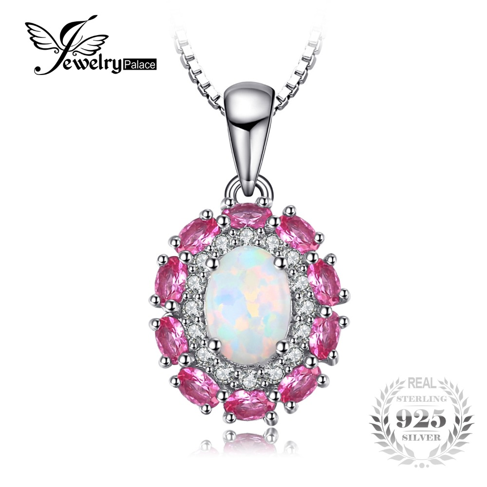 JewelryPalace 0 9ct Created Opal Inlay Pink Sapphire Pendant For Women 925 Sterling Silver Wedding Jewelry