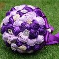 Элегантный Искусственный Кристалл Свадебные Цветы Свадебные Букеты Фиолетовый и Фиолетовый Брошь Свадебный Букет 2016 buque де noiva