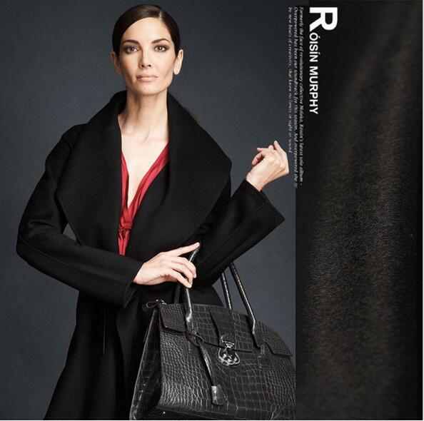 Бесплатная доставка! Гладкие волосы высококлассные черный кашемировая шерсть ткань пальто зимняя одежда оптовая продажа