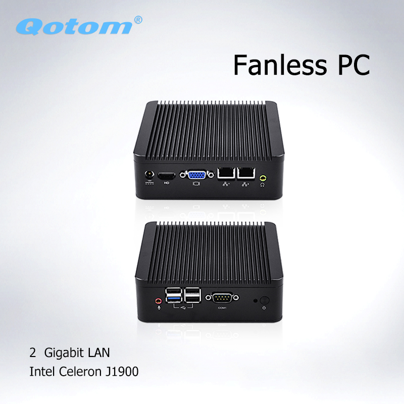 Qotom Barebone Mini Computer PC 2* Ethernet  Mini Itx J1900  Ubuntu, Linux Mini PC Dual Lan Fanless Industrial Mini PC Server