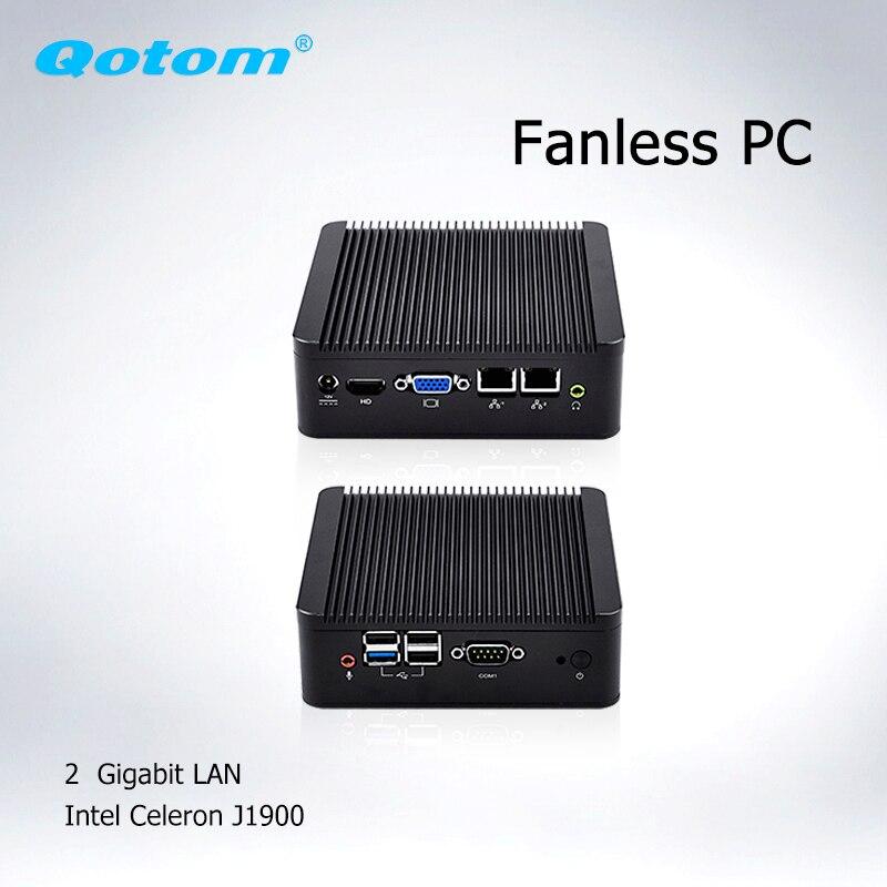 Qotom Barebone Mini Computer PC 2* Ethernet  Mini Itx J1900  Ubuntu, Linux Mini PC Dual Lan Fanless Industrial Mini PC Server