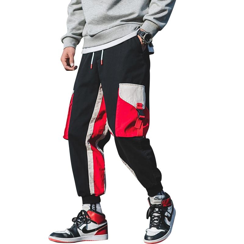 Men Pants Joggers Elastic-Waist Streetwear Male New-Fashion Hip-Hop Stitching-Color