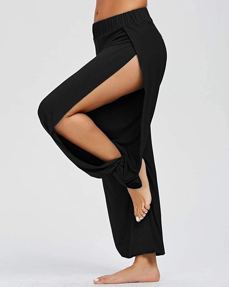 Feecolor  High Slit Harem Pants Women Hippie Harem Pants Trousers