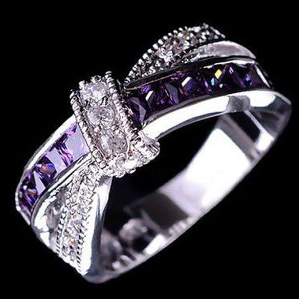 Обещание Обручальные кольца для Для женщин День рождения камень подарки Прекрасная бабочка женские крест кольцо моды фиолетовый цвет Запо...