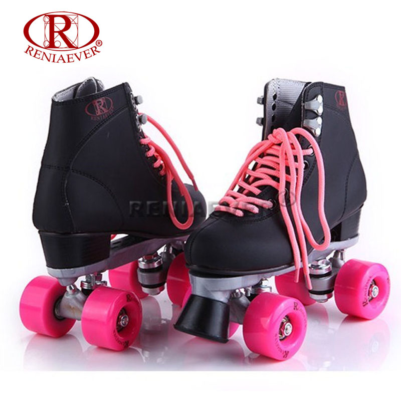 RENIAEVER Roller Skates Double Line Skates Black Women Female Lady Adult Pink PU 4 Wheels Two line Skating Shoes Patines 1 pair adult teenagers ice skate roller skating shoes adjustable washable pu wheels large size