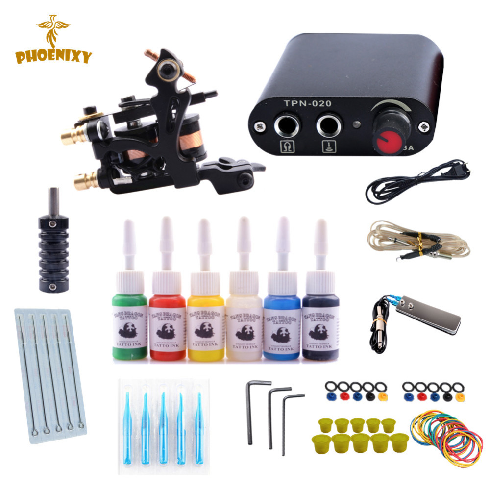 Tattoo Starter Kits 10 Wrap Coils Guns Machine Kit Set 6 color Ink Sets Power Supply Needles Permanent Tattoo Kit professional tattoo kits liner and shader machines immortal ink needles sets power supply