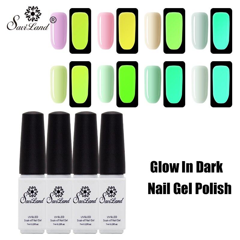 Saviland Gel polish Glow In The Dark Light Semi Permanent UV Gel Nail Varnish Fluorescent Neon Luminous Shine Gel Lacquer