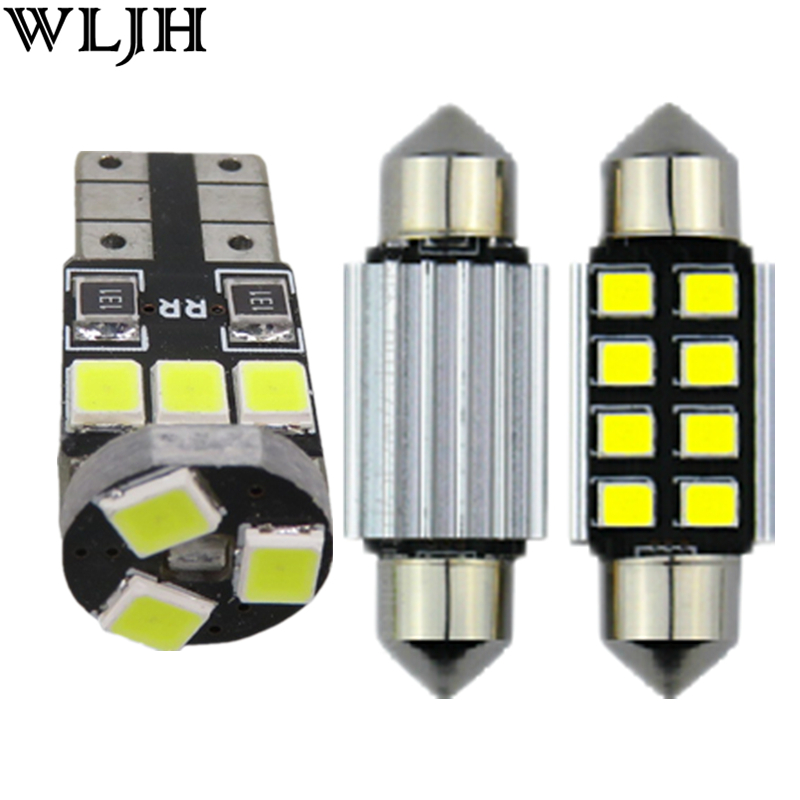 WLJH 9pcs White Canbus Error free W5W 36MM C5W Light For Volkswagen VW Jetta VI MK6 Sedan LED Interior Light Package kit 2011+ canbus error free for volkswagen vw golf 6 mk6 gti led interior light kit package 2010 car stying 8pcs