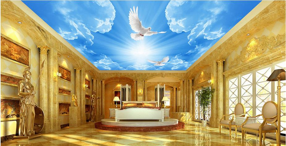 custom 3d ceiling Blue sky and white clouds photo wallpaper 3d wall sky ceiling murals for bedroom 3d ceiling bedroom wallpaper custom ceiling wallpaper blue sky and white clouds murals for the living room apartment ceiling background wall vinyl wallpaper