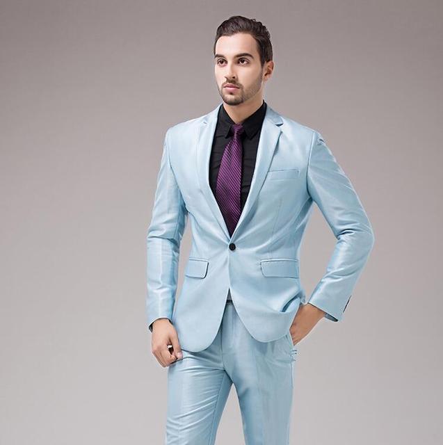 Latest Coat Pant Designs Blue Satin Men Suit Slim Fit 2 Piece Tuxedo ...