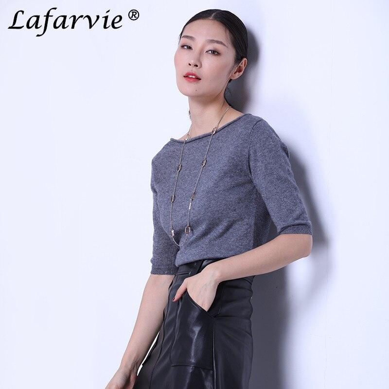 Lafarvie kwaliteit slanke sexy kasjmier gebreide trui vrouwen tops - Dameskleding - Foto 2