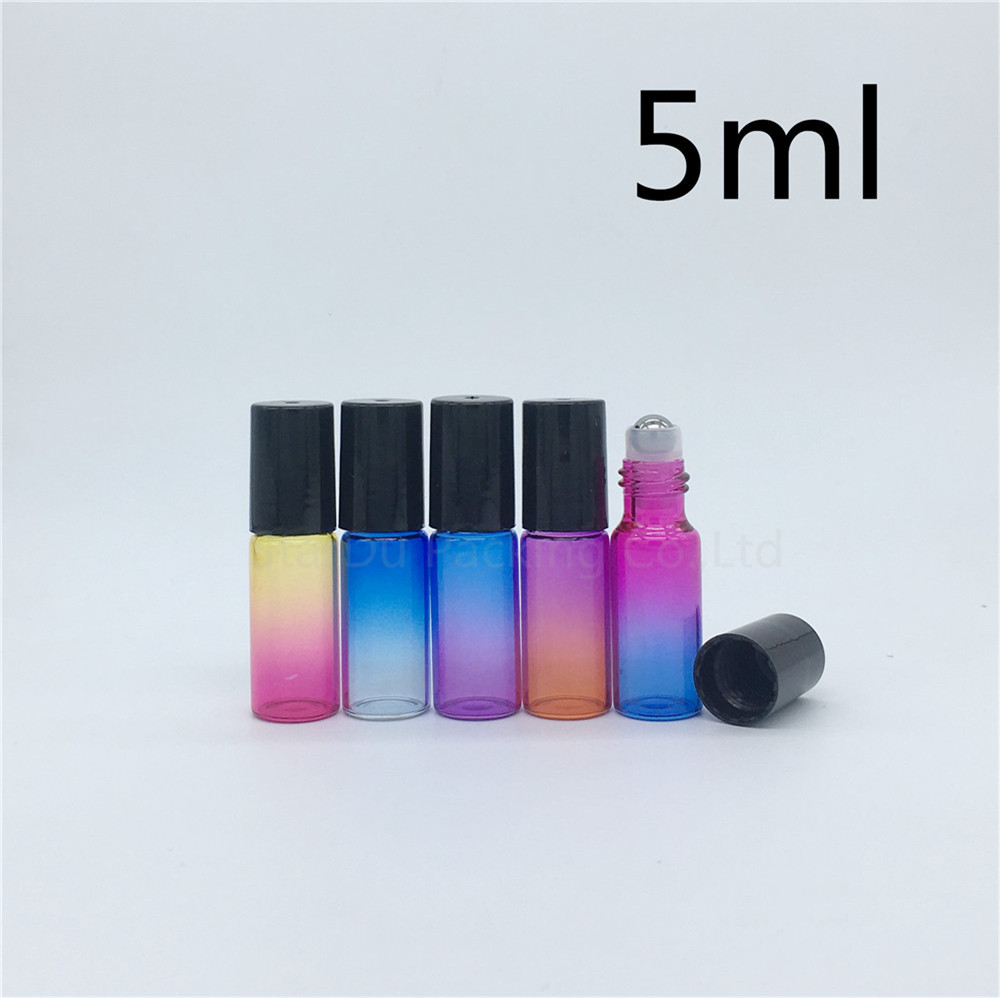 100 pcs/lot 5ml farbe rolle auf parfüm flasche, 5ml ätherisches öl rollon flaschen, farbverlauf glas roller container-in Nachfüllbare Flaschen aus Haar & Kosmetik bei  Gruppe 1