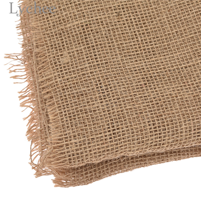 Lychee 50x160cm Natural Jute Fabric Retro Style Fabric DIY Handmade Materials For Bags Decorations 3