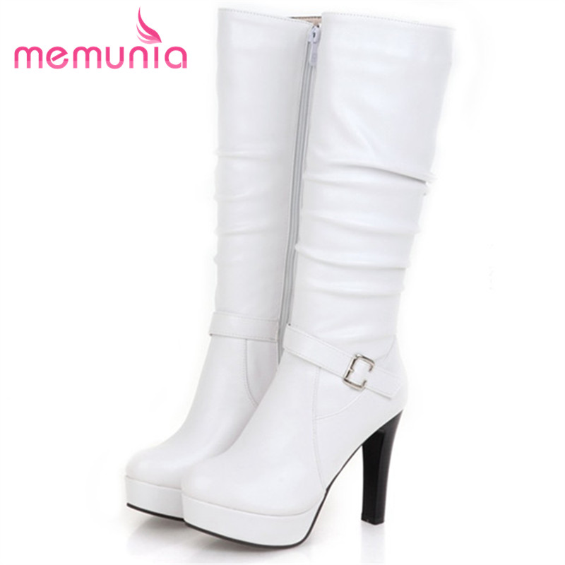 MEMUNIA 2018 Mid calf boots autumn winter fashion shoes woman platform boots PU soft leather high heels shoes half boots riding boots chunky heels platform faux pu leather round toe mid calf boots fashion cross straps 2017 new hot woman shoes