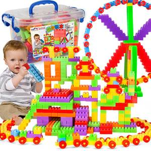 Educational Toy Building Blocks DIY Plastic Building Blocks Toy 210 Pieces