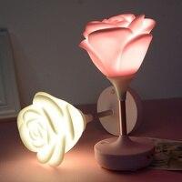 1 unids USB Recargable Noche Romántica Rose Lámpara de Mesa de Luz de la lámpara Led del Interruptor del Tacto de Silicona para el Día de San Valentín de Regalo Hogar iluminación