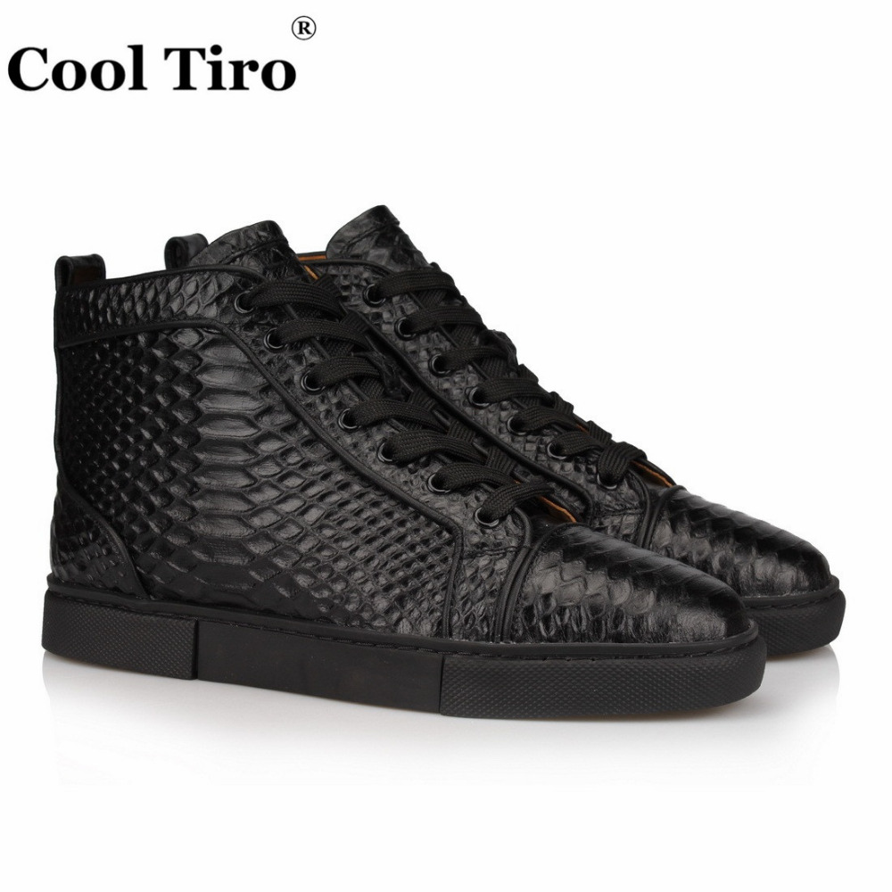 b98789ec1be COOL TIRO Black Python high-top Sneakers Men s Flat Genuine Leather  Snakeskin Men Casual Shoes Lace-Up plus size drop shipping