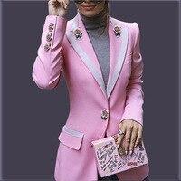Дизайнерский Блейзер Для женщин с длинным рукавом ажурное платье с цветочными мотивами пряжки цвета розового золота розовый блейзер, пиджа