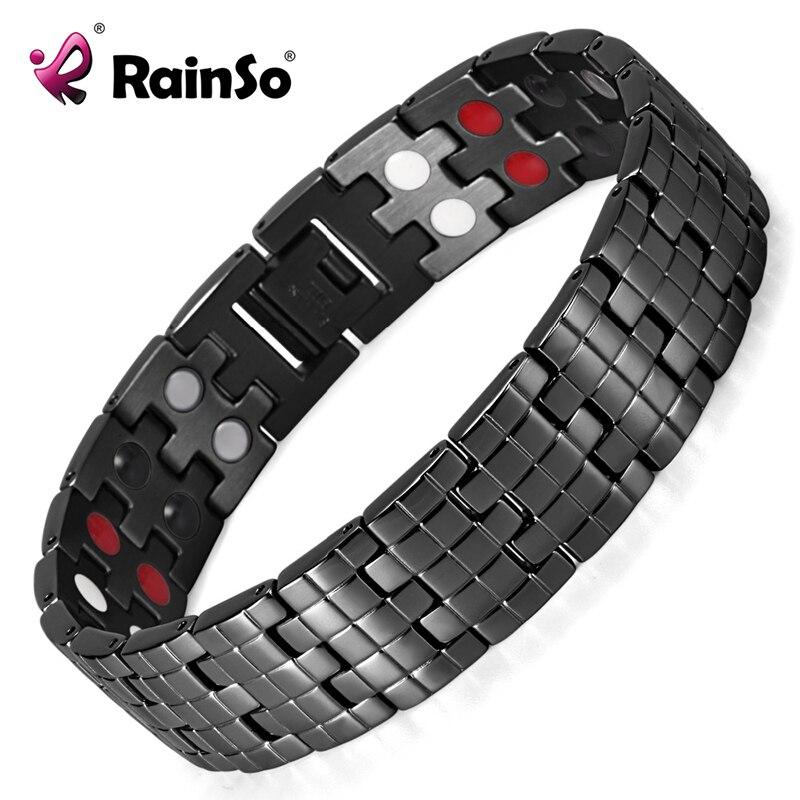 Rainso Men's Stainless Steel Bracelet Double Row 4 Elements Energy Power Link Bracelet Black Polished OSB-1044BFIR