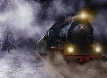 Trem Expresso Polar Vinil pano de fundo pano de Alta qualidade de impressão Computador da neve do inverno dos miúdos das crianças foto fundo do estúdio