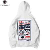 Aolamegs Hoodies Men Japanese Print Hooded Thick Pullover Harajuku Advanced Sweatshirt Men Fleece College Style Streetwear