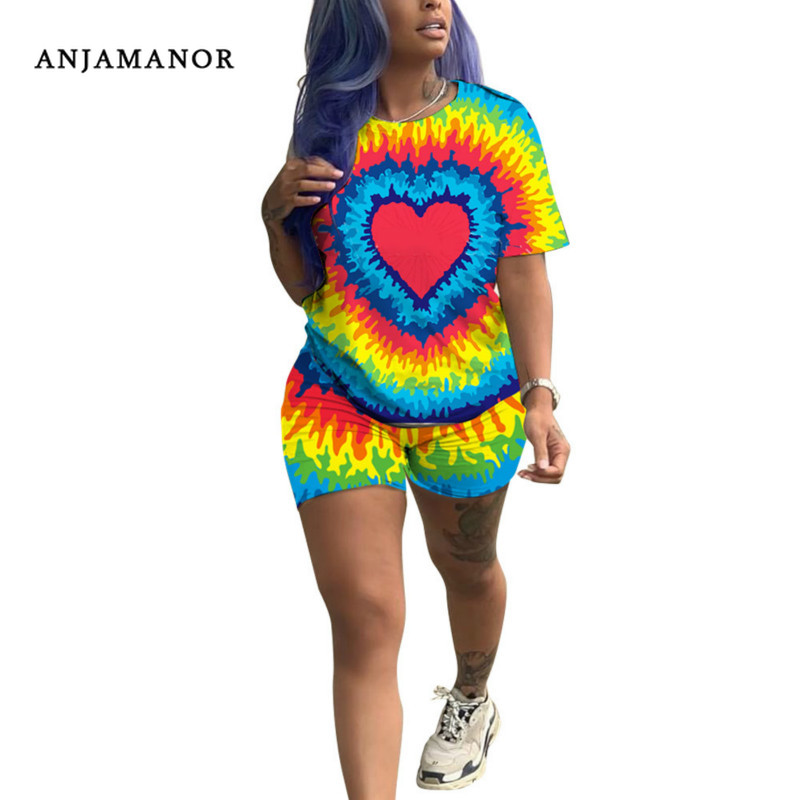ANJAMANOR 2 Piece Set Cute Casual Sports Suit Matching Sets Women Fashion Outfit Summer 2020 Plus Size Tye Dye Clothes D52-AD85