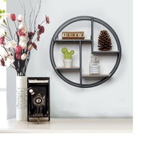 European Retro Round Wooden Shelf Wall Hanging Shelf Living Room Storage Racks Wall Decoration Display Stand