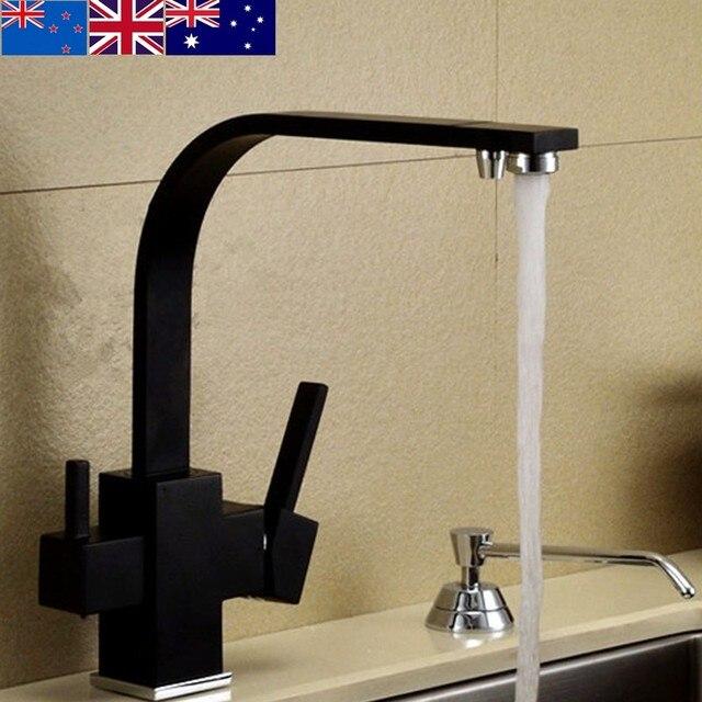2016 Wholesale High Quality Matte Black Three Way Kitchen Faucet 3 ...