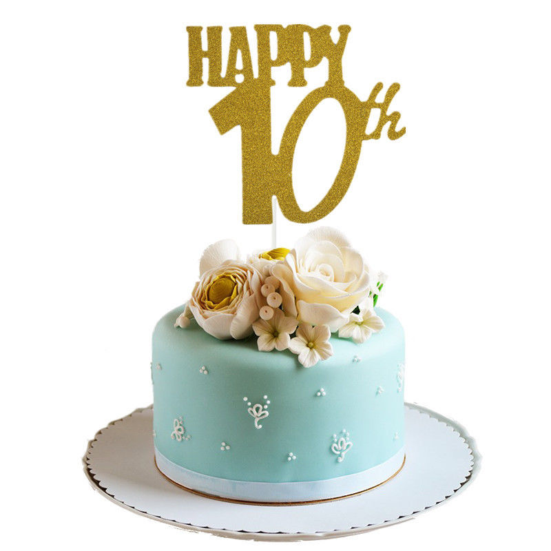 Home Cake Happy 10th 20th 30th Cupcake Flag Topper Card
