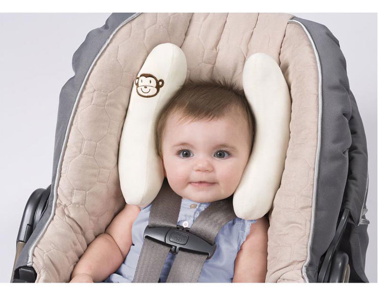 New Arrival Baby Kids Children Car Seat Pillow Neck Protector Head Assistant Adjustable Support Crash Test White Pink 1 Set