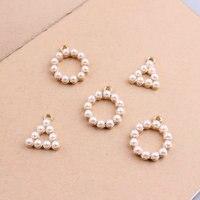 Wholesale 50PCs Acrylic Pearl Paved Round Traingle Pendant Charms Craft Fit Fashion Bracelet Necklace Phone Chain Keyring DIY