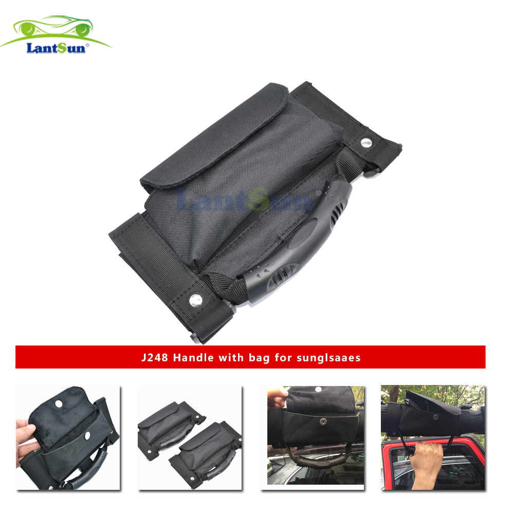2 x Lantsun J248 black oxford Roll Bar Sunglass Holder Storage Bag Pouch for 1995-2017 Jeep Wrangler YJ TJ JK JKU 2/4 door купить