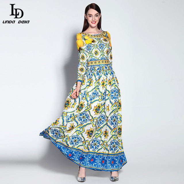 High Quality New 2015 Runway Designer Women Long Sleeve Casual Bohemian Floral Print Maxi Dress Boho Long Dress
