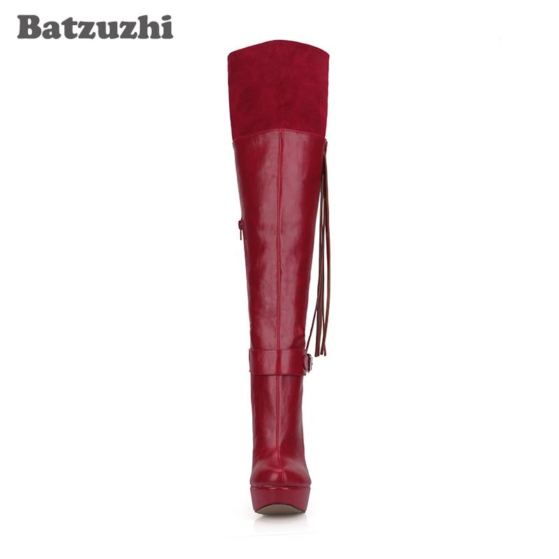 Batzuzhi Handmade High Quality Women Boots Wine Red Knee-high Platform High Heels Boots Leather with Tassels Botte Femme, 43
